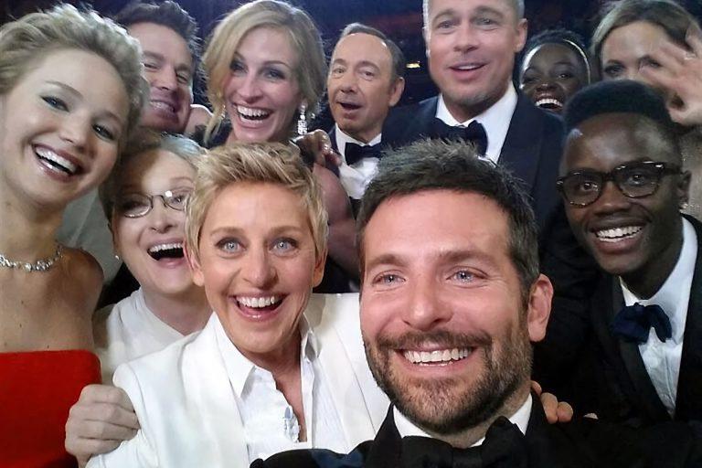 Bradley Cooper selfie taken at the 2014 Oscars award show